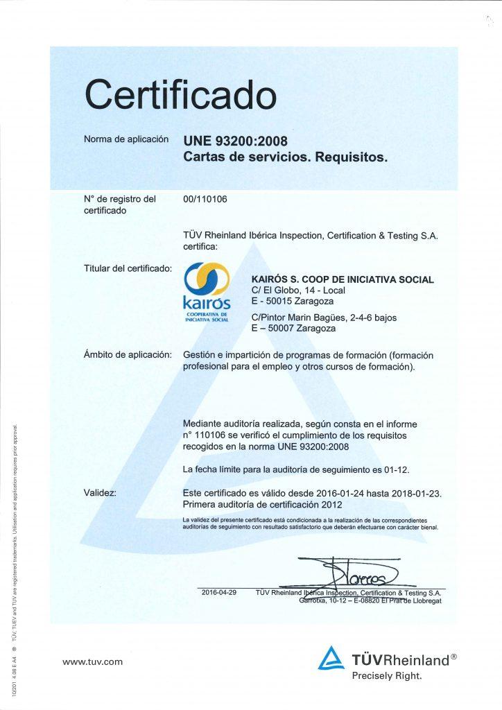 Certificado UNE 93200-2008 Carta de servicios